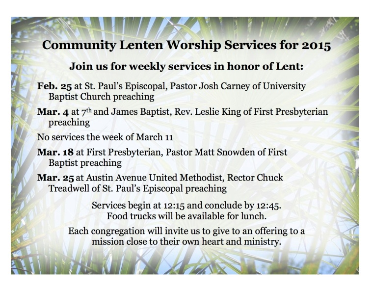 Lenten services flyer